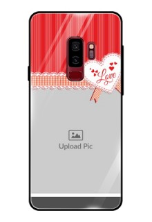 Samsung Galaxy S9 Plus Custom Glass Mobile Case  - Red Love Pattern Design