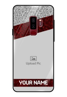 Samsung Galaxy S9 Plus Personalized Glass Phone Case  - Image Holder with Glitter Strip Design