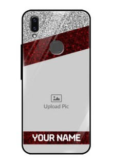 Vivo V9 Youth Personalized Glass Phone Case  - Image Holder with Glitter Strip Design