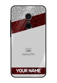 Redmi Note 4 Personalized Glass Phone Case  - Image Holder with Glitter Strip Design