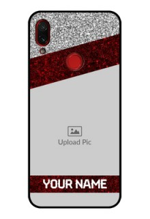 Redmi Note 7 Personalized Glass Phone Case  - Image Holder with Glitter Strip Design