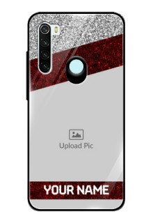Redmi Note 8 Personalized Glass Phone Case  - Image Holder with Glitter Strip Design
