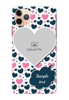 Iphone 11 Pro Max Mobile Covers Online: Pink & Blue Heart Design