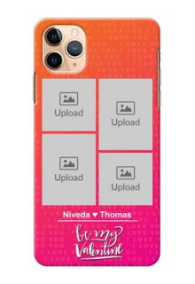 Iphone 11 Pro Max custom back covers: I Love You Pink Design