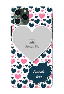 Iphone 11 Pro Mobile Covers Online: Pink & Blue Heart Design