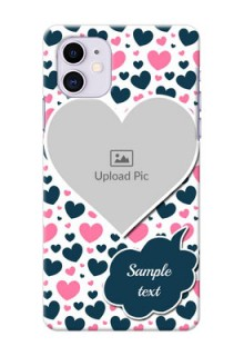 Iphone 11 Mobile Covers Online: Pink & Blue Heart Design