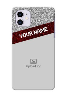Iphone 11 Mobile Cases: Image Holder with Glitter Strip Design