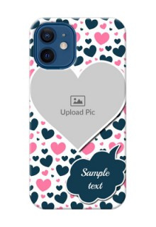 iPhone 12 Mini Mobile Covers Online: Pink & Blue Heart Design