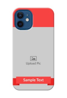 iPhone 12 Mini Personalised mobile covers: Simple Red Color Design