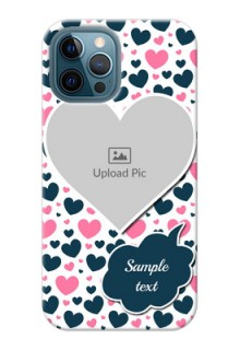 iPhone 12 Pro Max Mobile Covers Online: Pink & Blue Heart Design