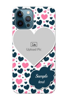 iPhone 12 Pro Mobile Covers Online: Pink & Blue Heart Design
