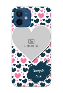 iPhone 12 Mobile Covers Online: Pink & Blue Heart Design