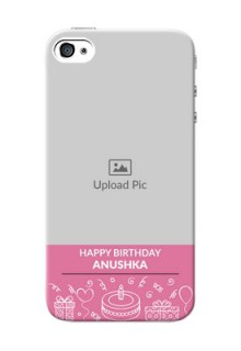 iPhone 4 Custom Mobile Cover with Birthday Line Art Design