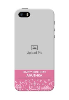iPhone 5 Custom Mobile Cover with Birthday Line Art Design