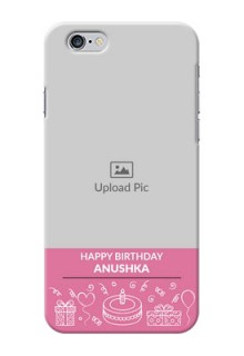 iPhone 6 Custom Mobile Cover with Birthday Line Art Design
