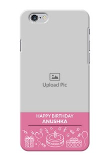 iPhone 6s Plus Custom Mobile Cover with Birthday Line Art Design