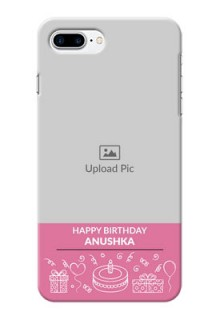 iPhone 7 Plus Custom Mobile Cover with Birthday Line Art Design