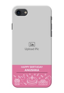 iPhone 8 Custom Mobile Cover with Birthday Line Art Design