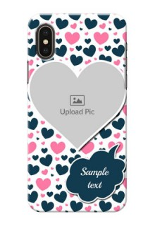 iPhone X Mobile Covers Online: Pink & Blue Heart Design