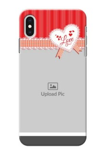 iPhone XS Max phone cases online: Red Love Pattern Design