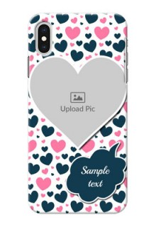 iPhone XS Max Mobile Covers Online: Pink & Blue Heart Design