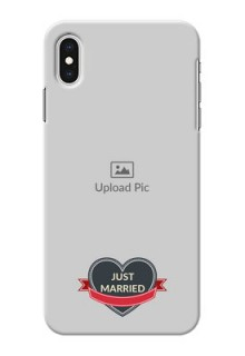 iPhone XS Max mobile back covers online: Just Married Couple Design