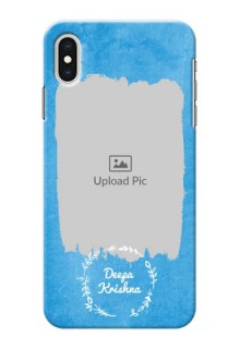 iPhone XS Max custom mobile cases: Blue Color Vintage Design