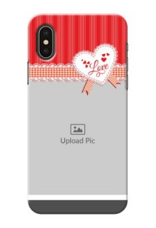 iPhone XS phone cases online: Red Love Pattern Design