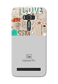 Asus ZenFone 2 Laser Personalised mobile covers: Love Doodle Pattern