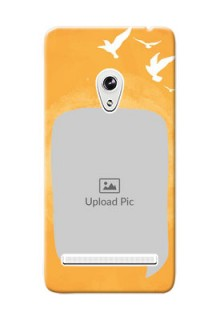 Asus ZenFone 5 watercolour design with bird icons and sample text Design Design