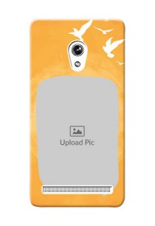 Asus ZenFone 6 watercolour design with bird icons and sample text Design Design
