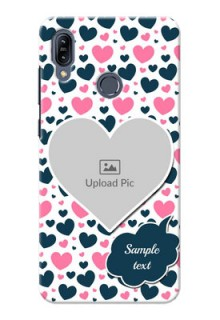 Asus Zenfone Max M2 Mobile Covers Online: Pink & Blue Heart Design