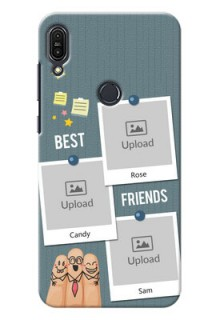 Asus Zenfone Max Pro M1 3 image holder with sticky frames and friendship day wishes Design