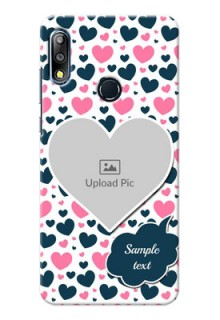 Zenfone Max Pro M2 Mobile Covers Online: Pink & Blue Heart Design