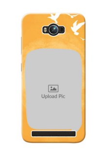 Asus ZenFone Max ZC550KL watercolour design with bird icons and sample text Design Design