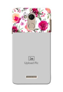 Coolpad Note 5 watercolour floral design with retro lines pattern Design
