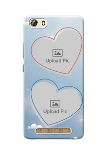 Gionee Marathon M5 Lite couple heart frames with sky backdrop Design