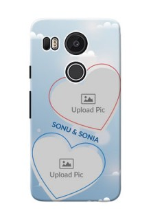 Google Nexus 5X couple heart frames with sky backdrop Design