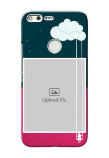 Google Pixel XL custom phone covers: Cute Girl with Cloud Design