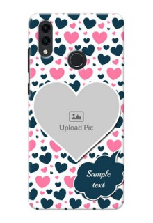 Honor 8C Mobile Covers Online: Pink & Blue Heart Design