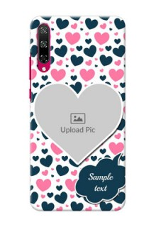 Honor Play 3 Mobile Covers Online: Pink & Blue Heart Design
