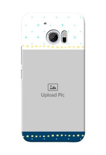 HTC Desire 10 White And Blue Abstract Mobile Case Design
