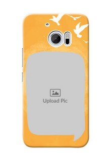 HTC Desire 10 watercolour design with bird icons and sample text Design Design
