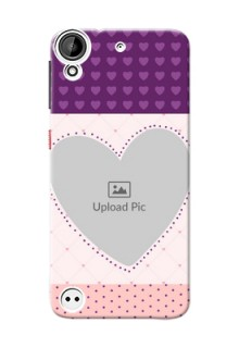 HTC Desire 530 Violet Dots Love Shape Mobile Cover Design