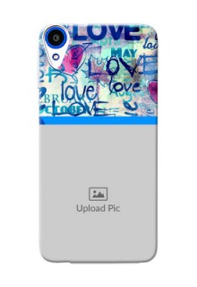 HTC Desire 820s Colourful Love Patterns Mobile Case Design