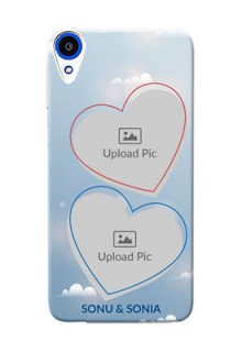 HTC Desire 820s couple heart frames with sky backdrop Design