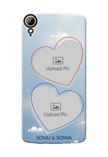 HTC Desire 828 Dual Sim couple heart frames with sky backdrop Design