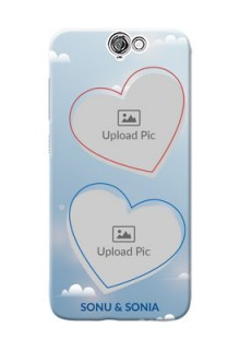 HTC Desire One A9 couple heart frames with sky backdrop Design