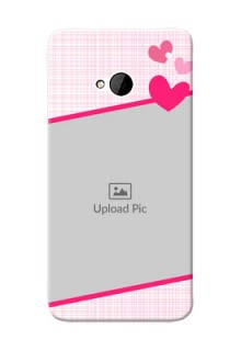 HTC Desire One M7 Pink Design With Pattern Mobile Cover Design