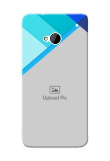 HTC Desire One M7 Blue Abstract Mobile Cover Design